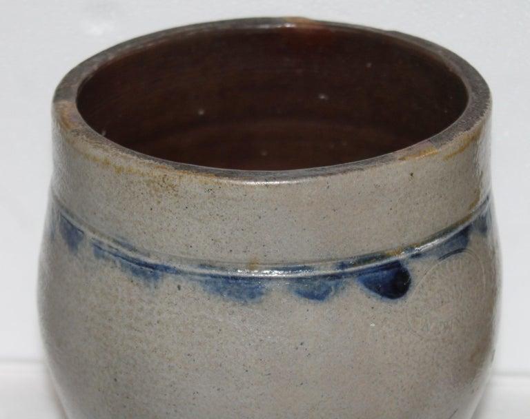 Salt glazed stone ware jar with