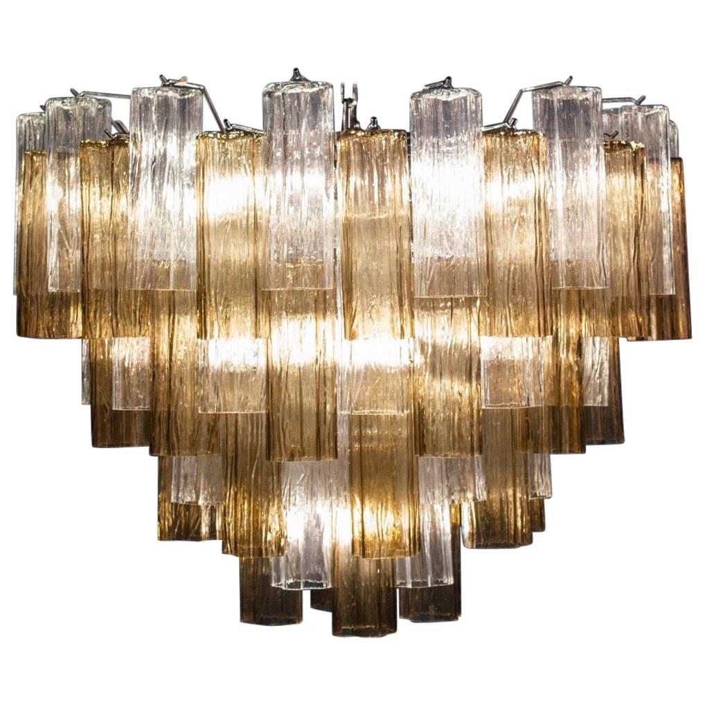 Smoke and Clear Murano Glass Tronchi Chandelier or Ceiling Light