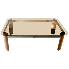 Smoke Glass, Palisander Wood and Chrome-Plated Steel Coffee Table, 1970s
