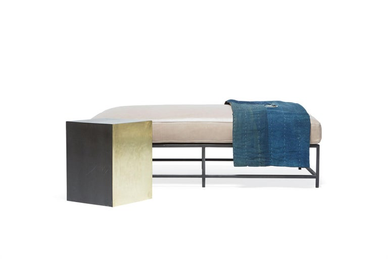 American Smoke Leather and Blackened Steel Bench For Sale