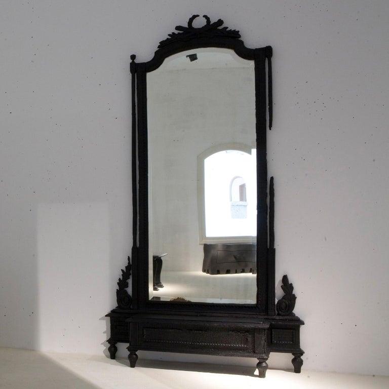Smoke Mirror in Wood and Black Resin by Marteen Baas In New Condition For Sale In Milan, IT