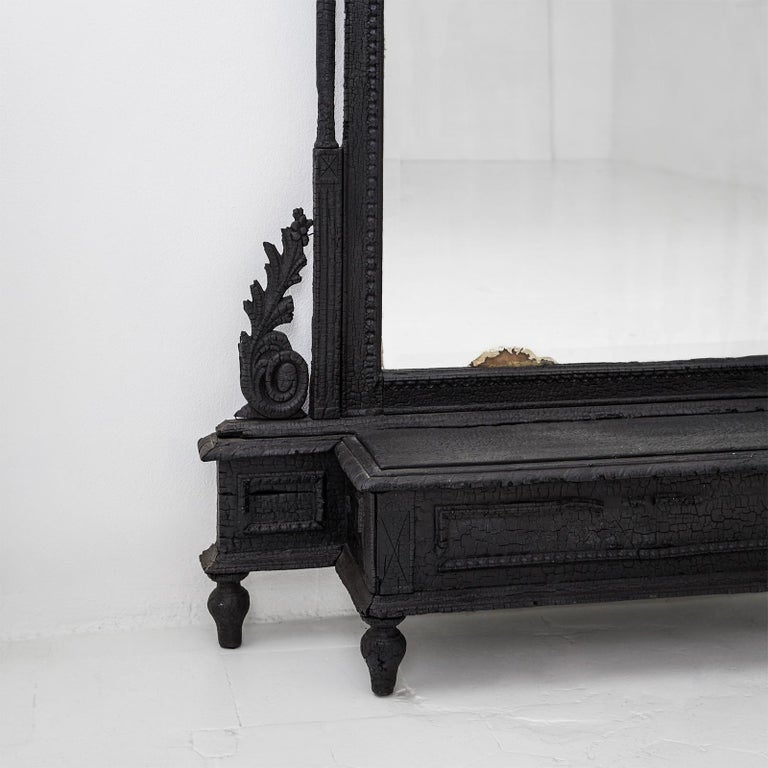 Modern Smoke Mirror in Wood and Black Resin by Marteen Baas For Sale