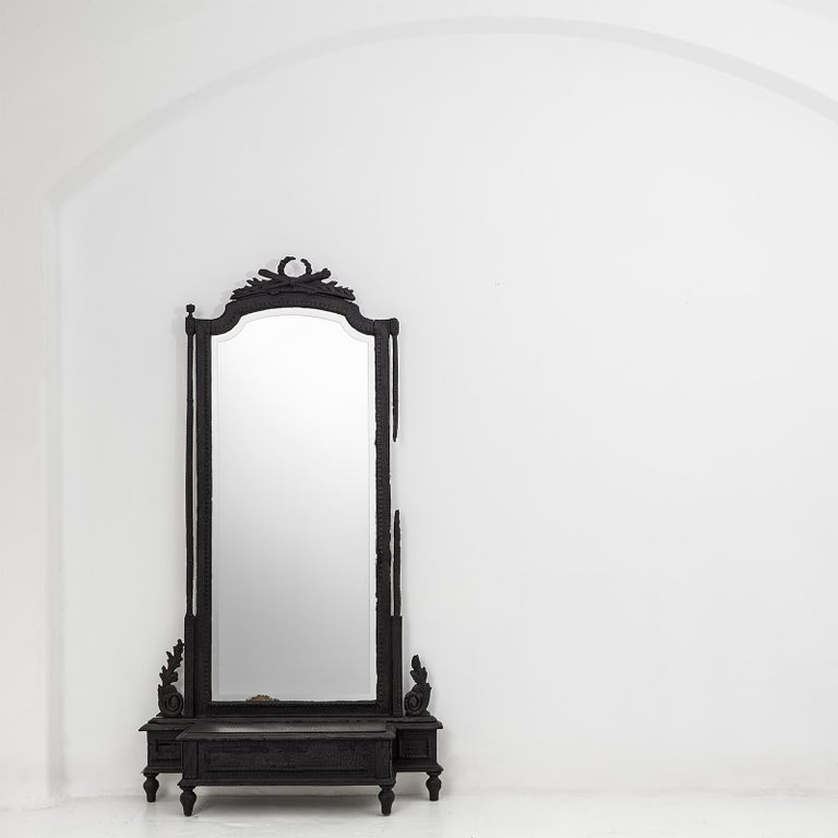 Contemporary Smoke Mirror in Wood and Black Resin by Marteen Baas For Sale