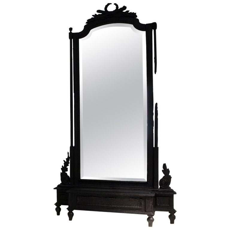 Smoke Mirror in Wood and Black Resin by Marteen Baas For Sale