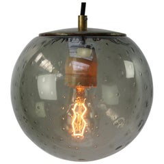 Smoked Air Bubble Glass Globe Dutch Vintage Brass Top Pendant Lights