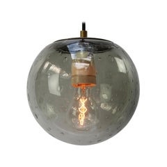Smoked Air Bubble Glass Globe Vintage Dutch Metal Top Pendant Lights
