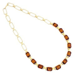 Smoked Brown Topaz Crystal Collet Necklace, 1960s