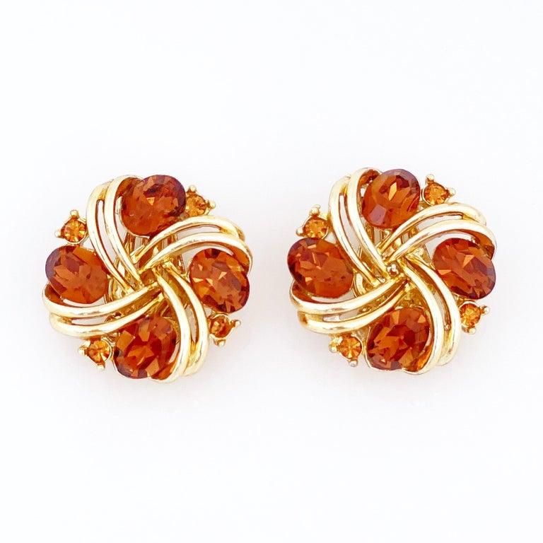 Modern Smoked Brown Topaz Crystal Pinwheel Earrings By Lisner, 1960s For Sale