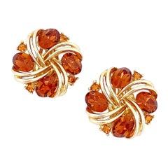 Smoked Brown Topaz Crystal Pinwheel Earrings By Lisner, 1960s