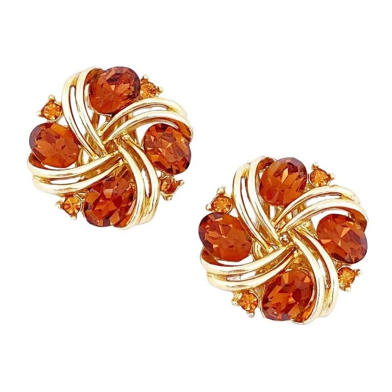 Smoked Brown Topaz Crystal Pinwheel Earrings By Lisner, 1960s For Sale