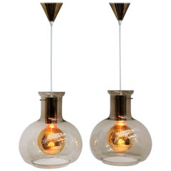 Smoked Colored Glass and Brass Pendants from Danish Vitrika, 1960s