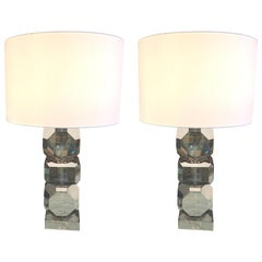 Smoked Cut Crystal Stacked Cubes Design Pair of Lamps, Belgium, Contemporary