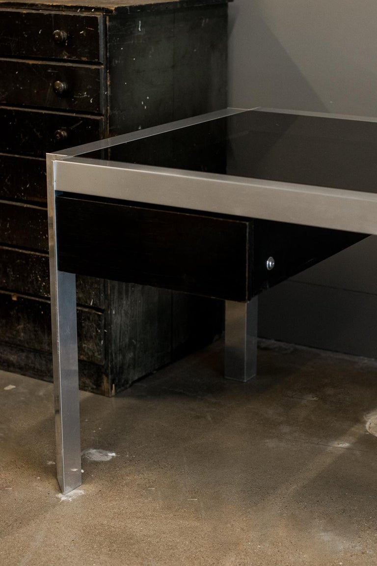 French George's Frydman Smoked Glass and Aluminum Executive Desk, France, 1970s For Sale