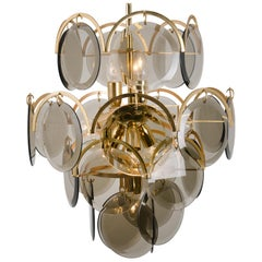Smoked Glass and Brass Chandelier in the Style of Vistosi, Italy, 1970