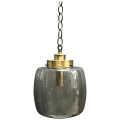 Smoked Glass and Brass Lantern Pendant Light