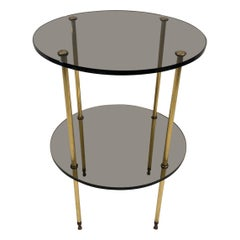 Smoked Glass and Brass Side Table