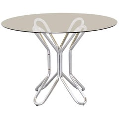 Smoked Glass and Chrome Dining Table, Italy, 1970s