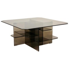 Smoked Glass Coffee Side Table, Italy, 1970s