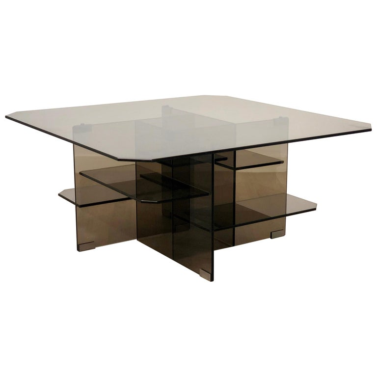 Smoked Glass Coffee Side Table Italy 1970s For Sale At 1stdibs