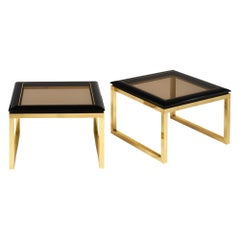 Smoked Glass Midcentury Side Tables