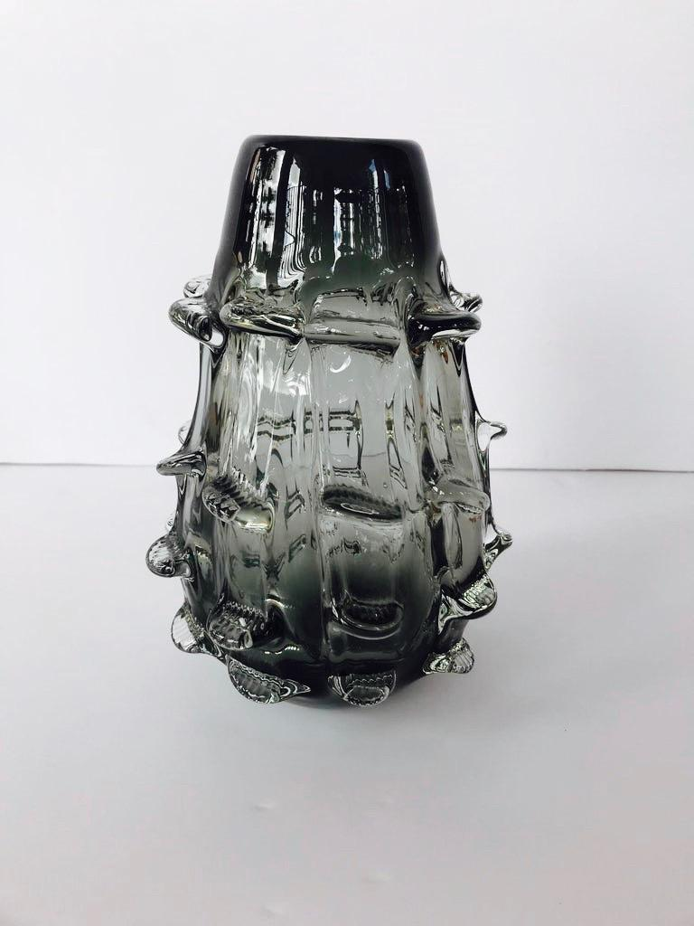 Mid-Century Modern Smoked Glass Murano Vase with Organic Form by Barovier & Toso, Italy, c. 1950 For Sale