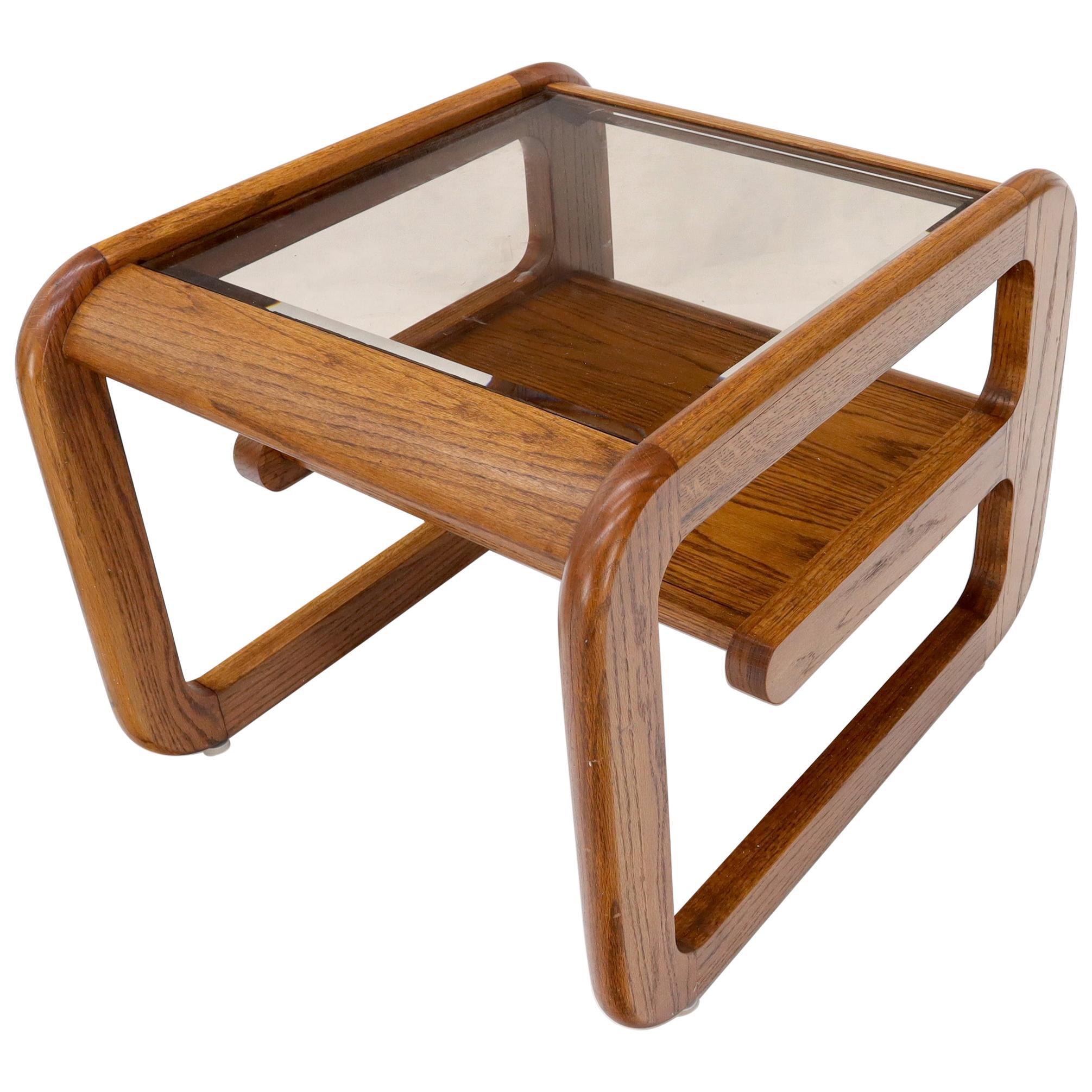 Smoked Glass Oak Base Floating Shelf Side End Table