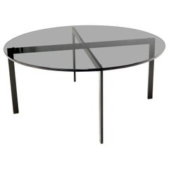 Smoked Glass Round Top X-Base Coffee Table