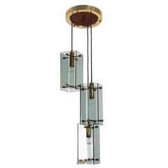 Smoked Glass, Wood and Brass Three-Lights Pendant in the Style of Fontana Arte
