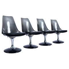 Smoked Lucite Acrylic Tulip Base Swivel Chairs by Chromcraft