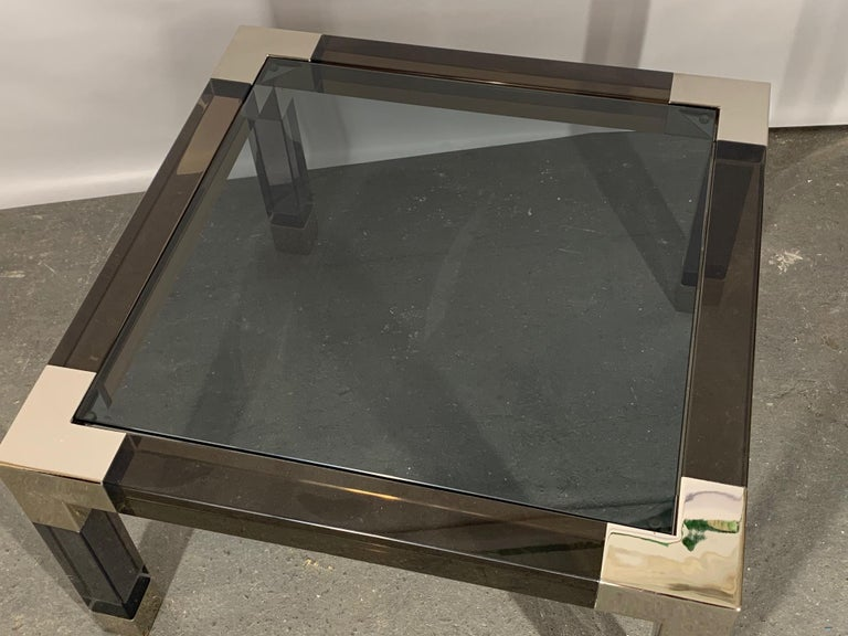 Hollywood Regency Smoked Lucite and Chrome Coffee Table by Jonathan Adler For Sale