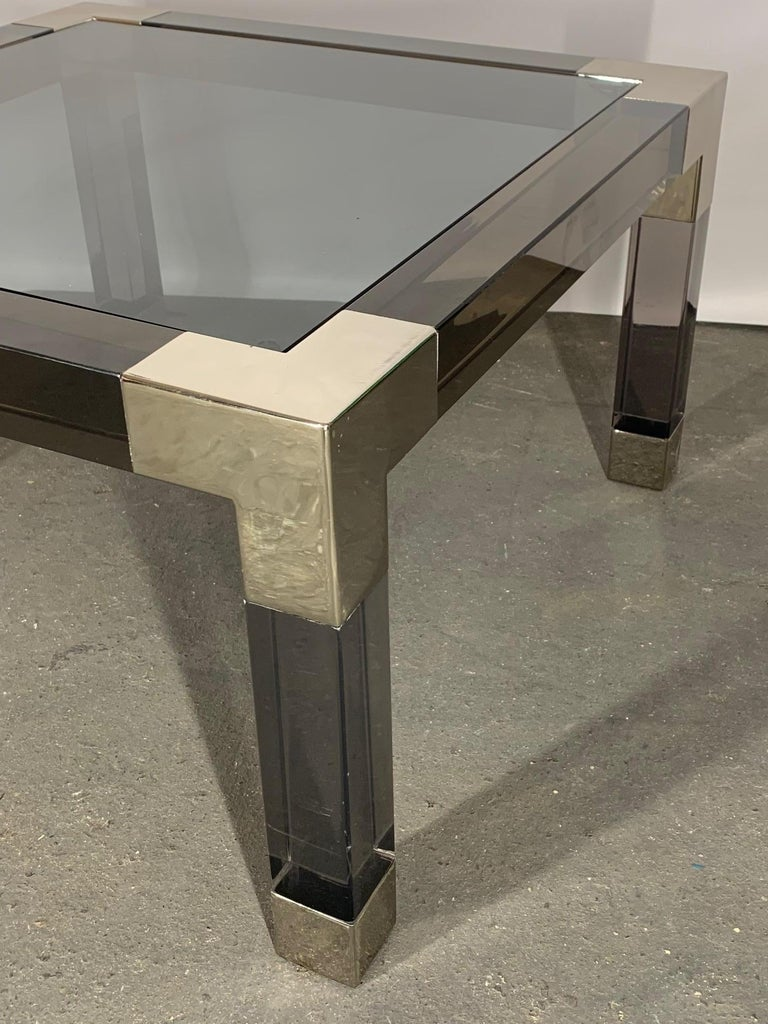 Smoked Lucite and Chrome Coffee Table by Jonathan Adler In Good Condition For Sale In Jacksonville, FL