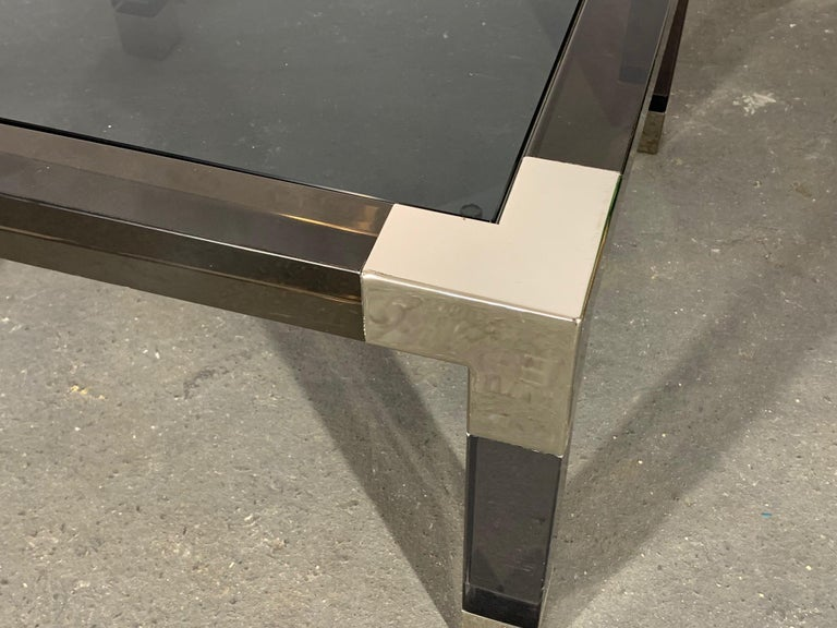 Contemporary Smoked Lucite and Chrome Coffee Table by Jonathan Adler For Sale