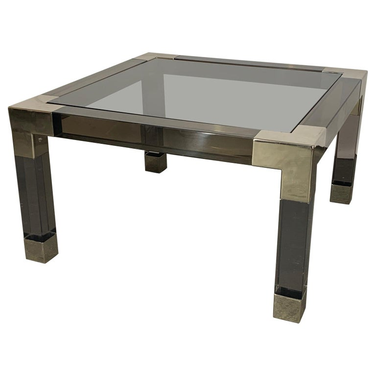 Smoked Lucite and Chrome Coffee Table by Jonathan Adler For Sale