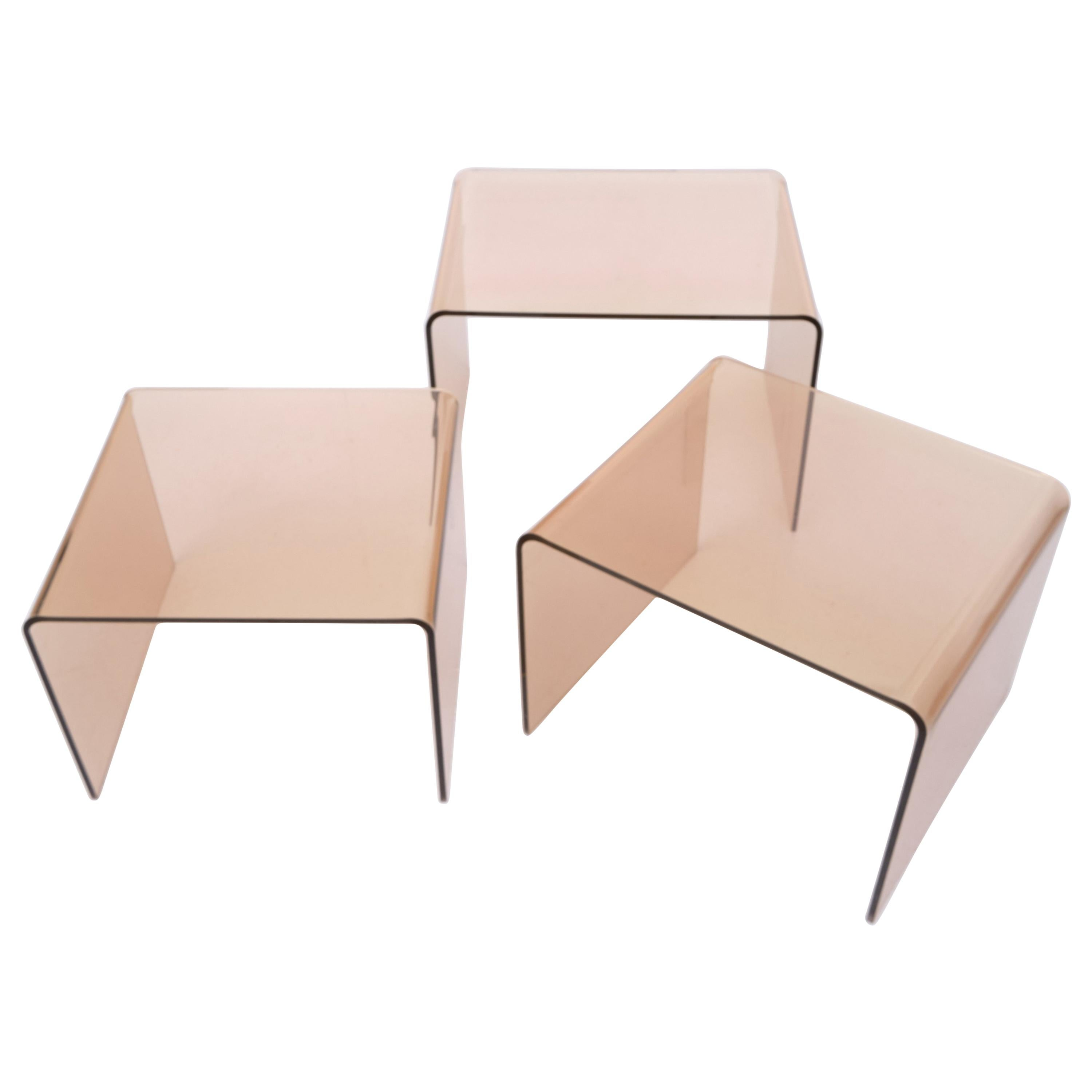 Smoked Lucite Nesting Tables, France, 1970s