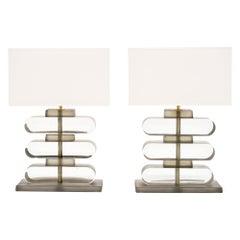 Smoked Murano Glass Geometric Lamps