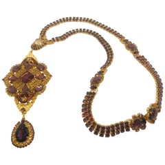 "Smoked Topaz and Amethyst Austrian Crystal ""Byzantine"" Long Sautoire Necklace"