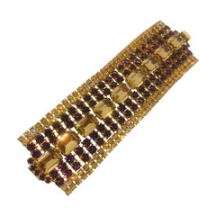 Smoked Topaz and Amethyst Austrian Crystal Flex Cuff Bracelet