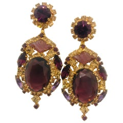 Smoked Topaz and Amethyst Austrian Crystal Pendant Drop Earrings