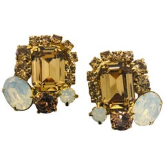 Smoked Topaz and White Opal Austrian Crystal Button Cluster Clip Earrings