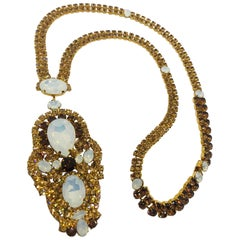 Smoked Topaz and White Opal Austrian Crystal Long Sautoire Necklace