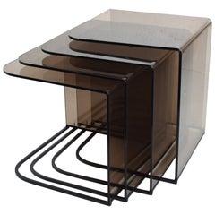 Smokey Grey Lucite & Black Iron Nesting Tables Charles Hollis Jones Style, 1970s