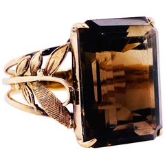 Smokey Quartz Antique 14 Karat Gold Ring, 10 Carat Emerald Cut, Brazilian Quartz