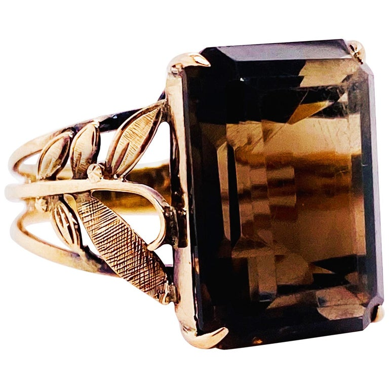 Smokey Quartz Antique 14 Karat Gold Ring, 10 Carat Emerald Cut, Brazilian Quartz For Sale