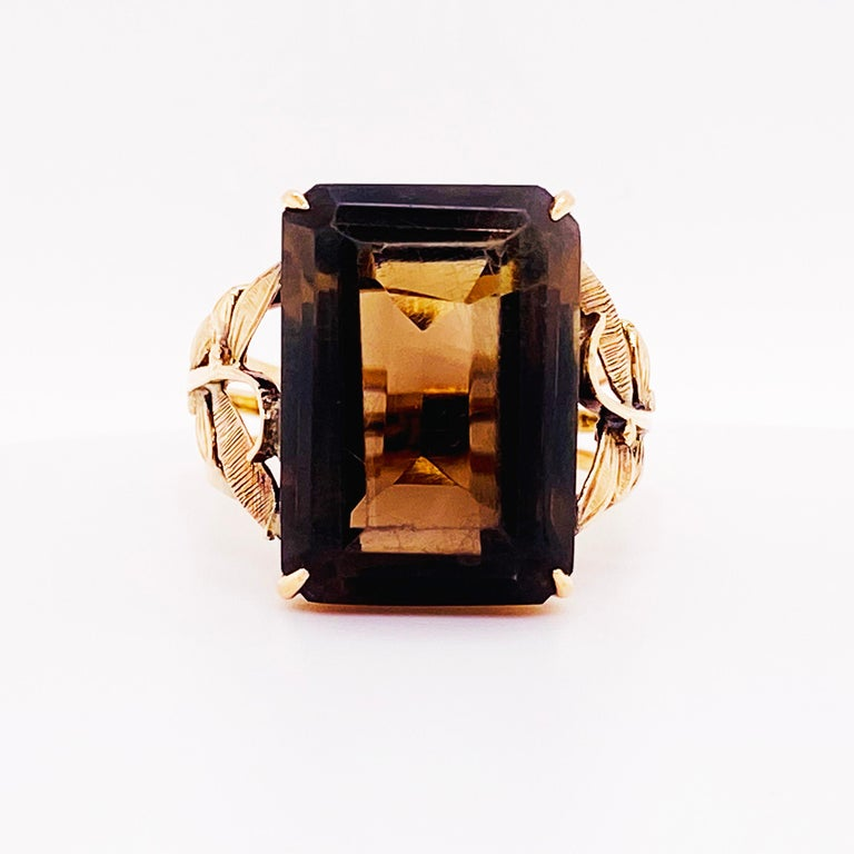 Romantic Smokey Quartz Antique 14 Karat Gold Ring, 10 Carat Emerald Cut, Brazilian Quartz For Sale