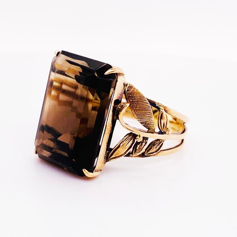 Women's or Men's Smokey Quartz Antique 14 Karat Gold Ring, 10 Carat Emerald Cut, Brazilian Quartz For Sale
