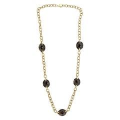 Smokey Quartz Braided-Gold Link Necklace