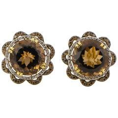 Smokey Quartz Earrings 24 Carat with Brown and White Diamonds 14 Karat Gold
