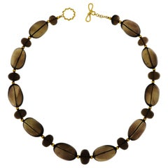 Smokey Quartz Gold Balls Necklace