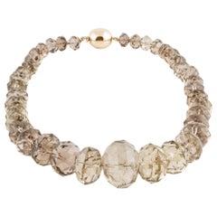 Smokey Quartz Large Faceted Bead Necklace