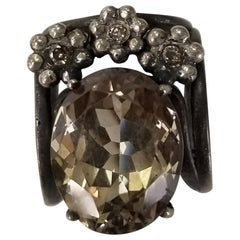 Smokey Quartz Oval 15.40 Carat with Diamonds Silver Gresha
